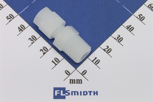 "Connector, 6mm-1/4"", PVDF"