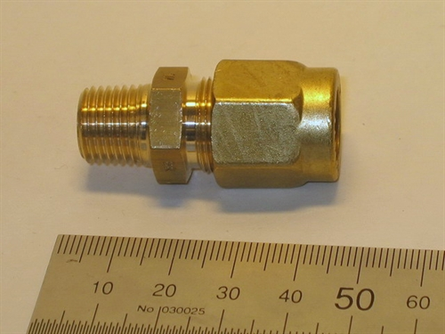 "Connector, 12mm-1/4"", brass"