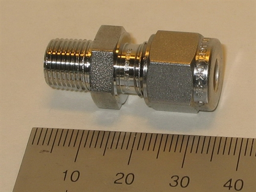 "Connector, 6mmOD-1/8""RT, SS"