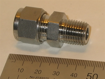 "Connector, 10mmOD-1/4""RT, SS"